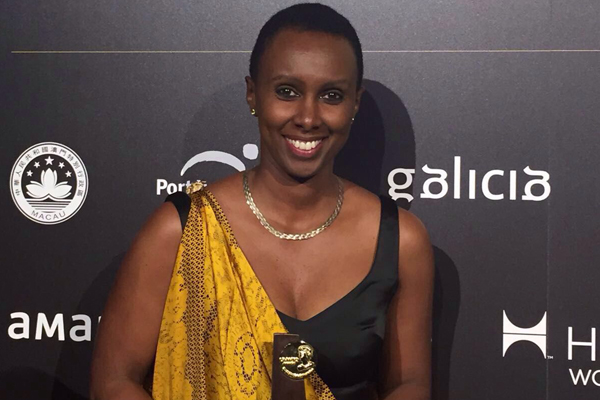 The East Africa Tourism Platform Executive Director Ms. Carmen Nibigira during the award UNWTO Awards Ceremony and gala dinner at Fitur in Madrid, Spain on 20th January 2016