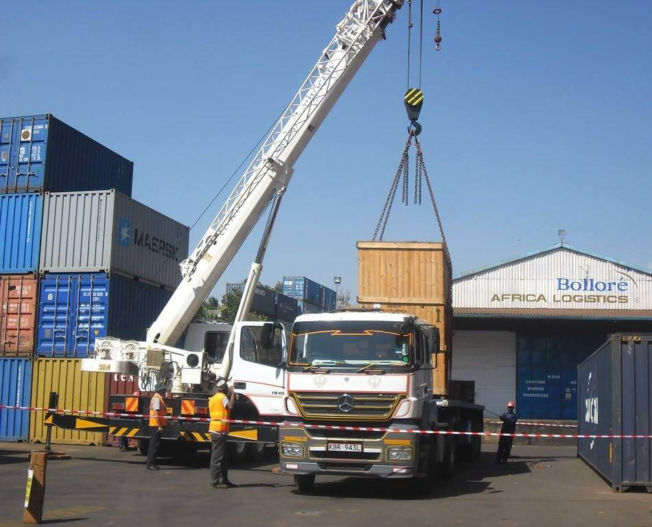 Bollore team mobilizing out of gauge cargo in transit to DRC Congo at the Bolloré Kampala ICD facility